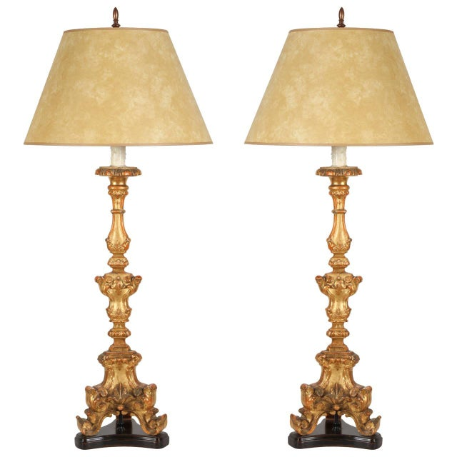 Image of Pair of 18th Century Italian Candlestick Lamps