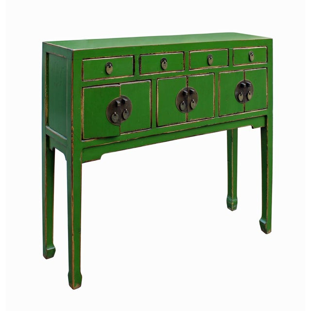 Foyer Table Distressed : Chinese distressed green foyer table chairish