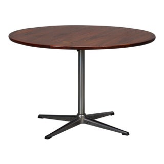 Round Rosewood & Chrome Pedestal Base Coffee Table
