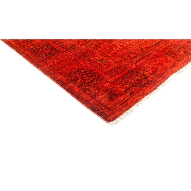 """Image of Red Over-Dyed Hand Knotted Runner - 3' X 7'10"""""""
