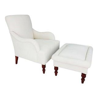 Vintage Club Chair & Ottoman - A Pair