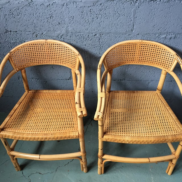 Bamboo and Cane Dining Chairs - Set of 4 - Image 4 of 11