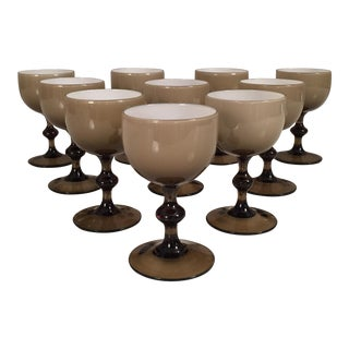 Mid-Century Italian Handblown Wine Glasses - Set of 16