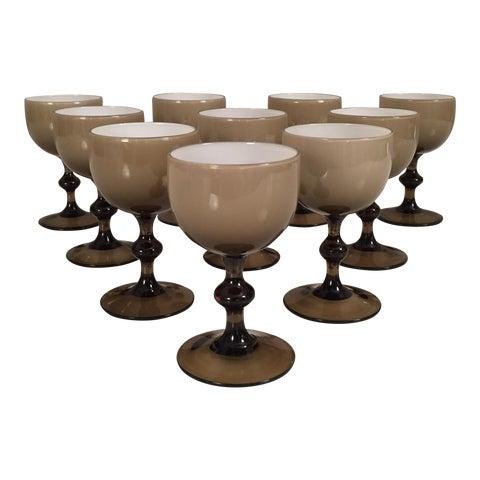 Image of Mid-Century Italian Handblown Wine Glasses - Set of 16