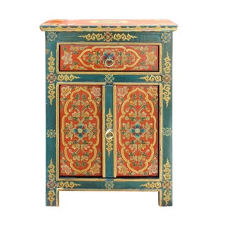 Tibetan Floral End Table Nightstand