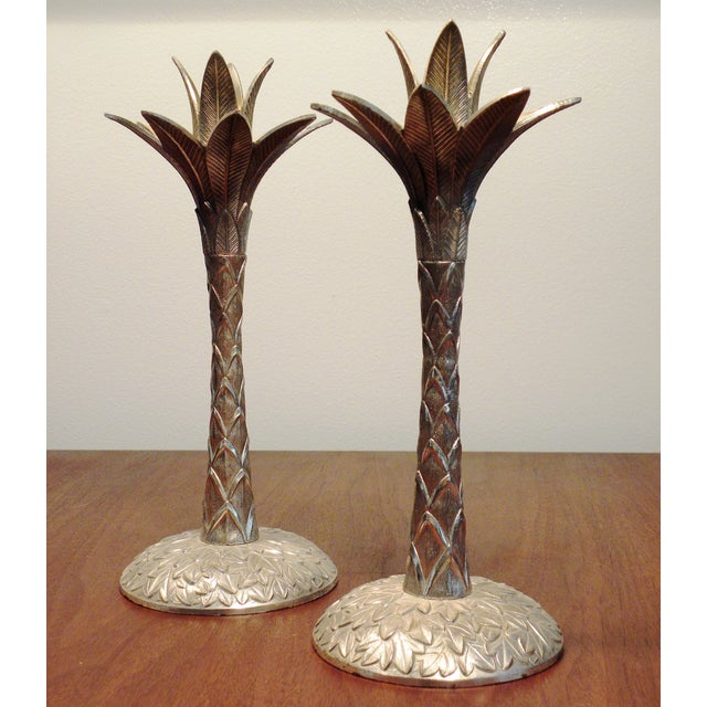 Image of Vintage Brass Pineapple Candle Holders - A Pair