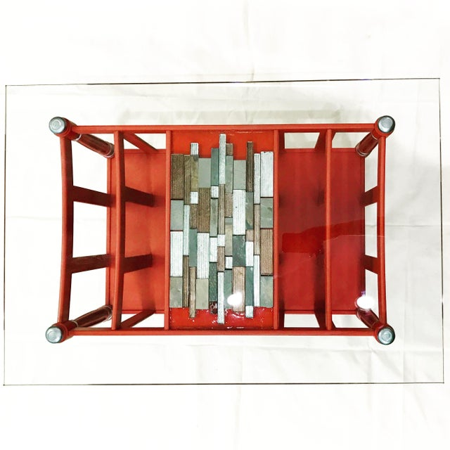 Image of Magazine Rack Glass Top Coffee Table