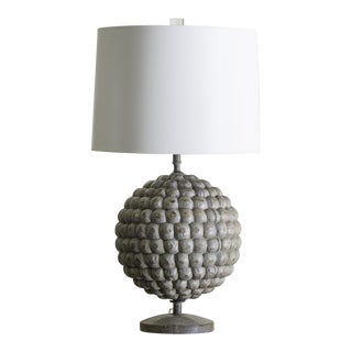French Solid Painted Wood Lamp Resembling a Pomengranate
