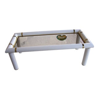 A Crespi Style Laquer & Brass Coffee Table