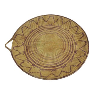 Round Brown Tribal Basket with Handle