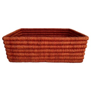 Vintage Orange Woven Basket