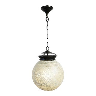 Boho White Mosaic Globe Lantern