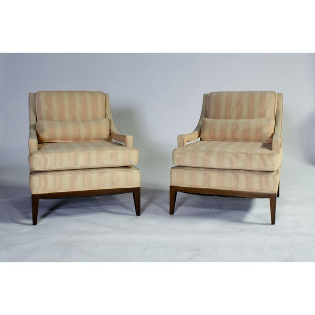 Upholstered Open-Arm Lounge Chairs - A Pair - Image 2 of 3