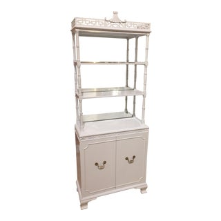 Vintage Chinoiserie White Bookcase Etagere