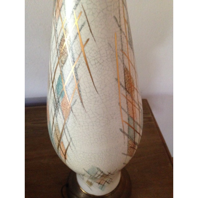 Image of 1950s Tall Diamond-Patterned Ceramic Table Lamp