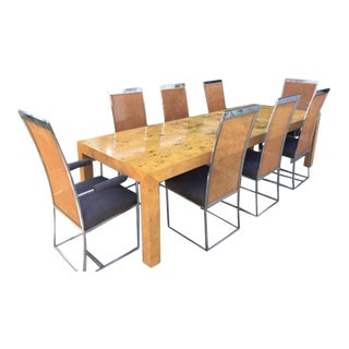 Milo Baughman Dining Room Table & 8 Chrome & Cane Chairs