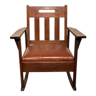 1925 Stickley Style Brown Leather Rocking Chair