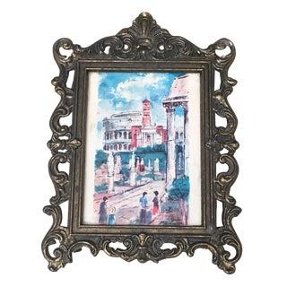 Italian Baroque Small Metal Frame & Illustration