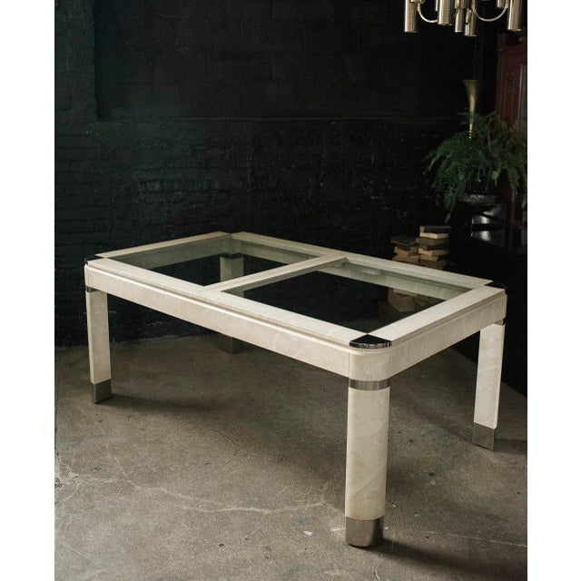 Modernist Lacquered Ivory, Chrome & Glass Extendable Dining Table in the Style of Steve Chase - Image 11 of 11
