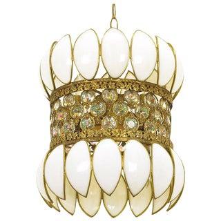 Brass Filigree and White Opalescent Glass Pendant Light