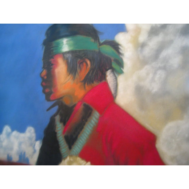 Vintage Framed Pastel - Young Navajo Boy with Lamb - Image 2 of 4