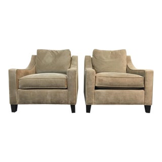 Rene Cazares 'RC Furniture' Suede Upholstered Armchairs - A Pair