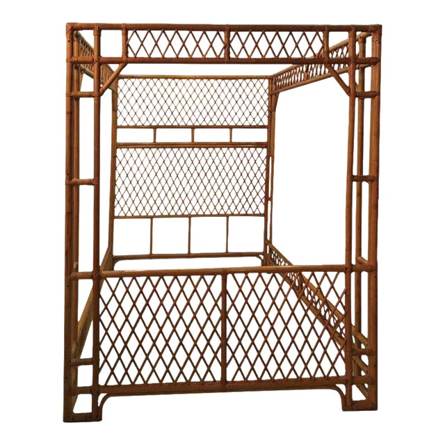 Rattan Bamboo Chinese Chippendale Queen Canopy Bed - Image 1 of 12
