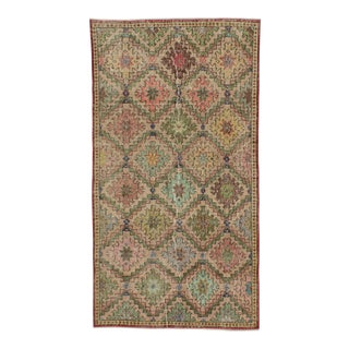 Vintage Turkish Art Deco Hand-Knotted Rug - 3′8″ × 6′9″