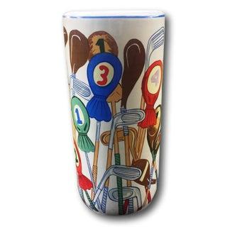Vintage Porcelain Ceramic Umbrella Stand Golf Clubs