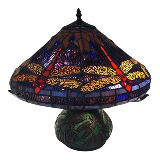 Dragonfly Motif Stained Glass Lamp