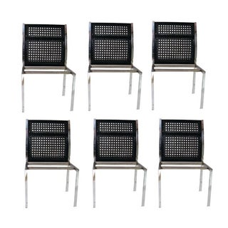 Black Mod Caned & Chrome Dining Chairs - Set of 6