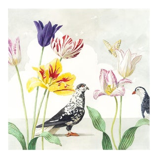"""Tulips With Two Pigeons"" Giclée Print"
