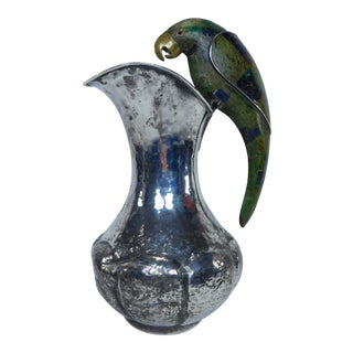 Los Castillo Hammered Silverplate Parrot Handled Pitcher