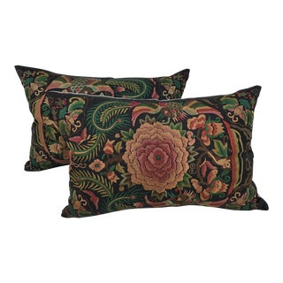 Asian Embroidered Floral Pillows - A Pair