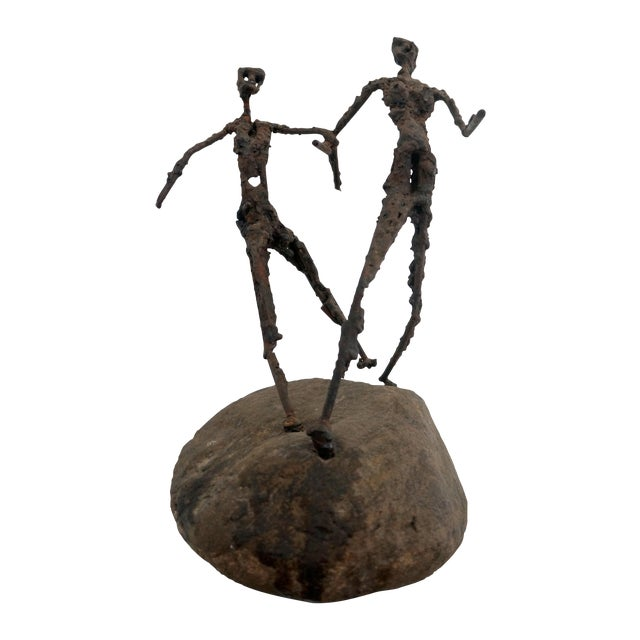 Brutalist Giacometti Metal And Stone Sculpture - Image 1 of 5