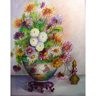 Chinoiserie Floral Still Life Oil Painting