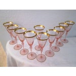 Image of Gilded Pink Optic Wine Glasses - S/10
