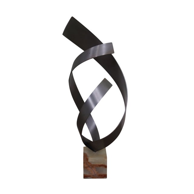 Image of Curtis Jere Spiral Metal Sculpture on Marble Base