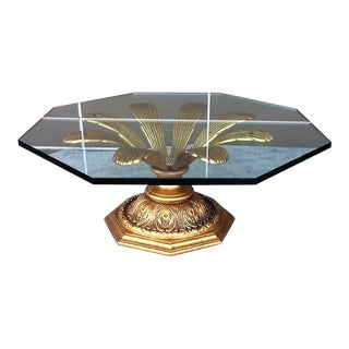 Glass Top Brass Flower Table