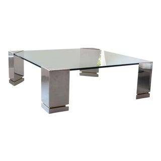 Brueton Polished Chrome and Glass Low Table, USA
