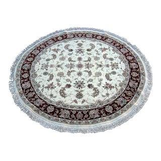 Hand Woven Silk Kashan Rug - 7' x 7'