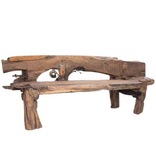 Indian Wooden Art Studio Bench