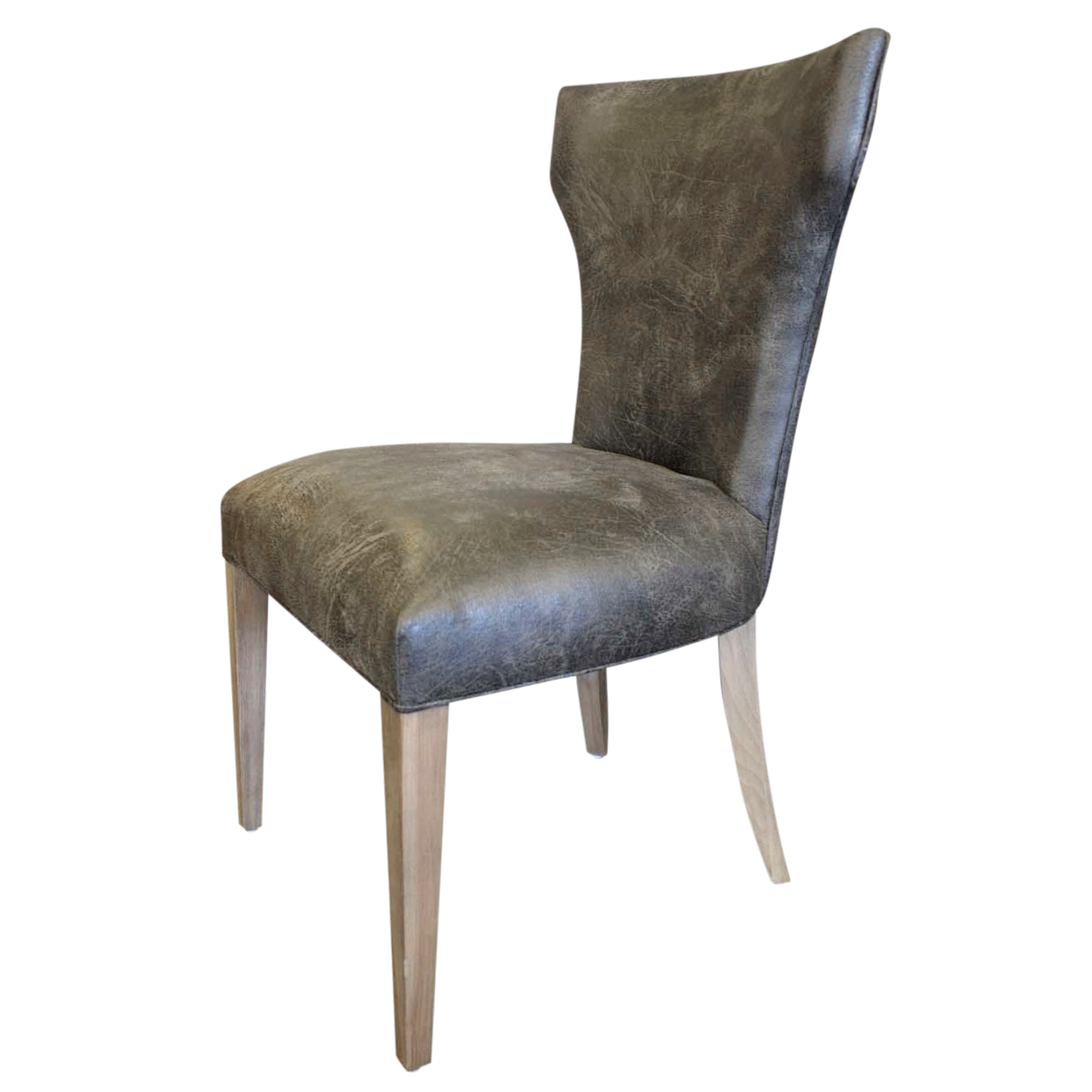 Gray Black Distressed Leather Side Chair