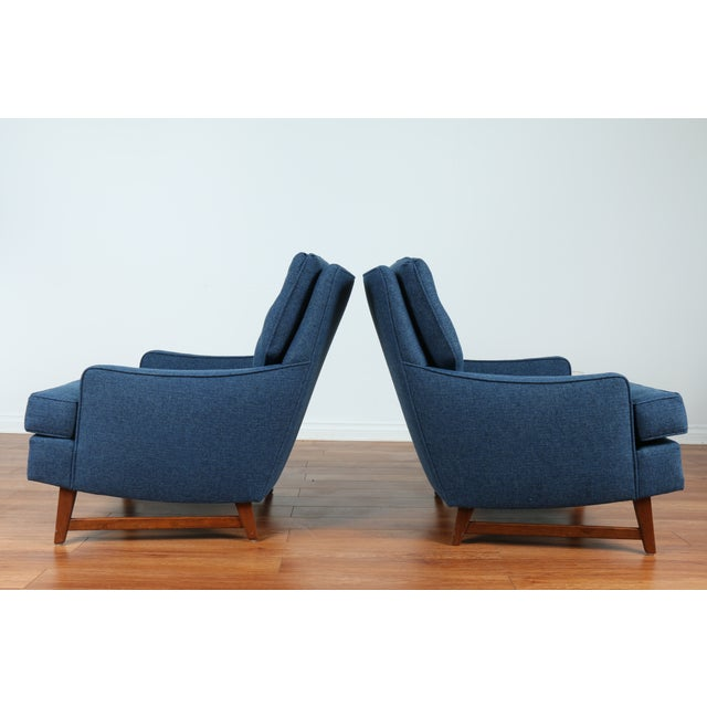 Image of Mid-Century Blue Tufted Lounge Chairs - A Pair