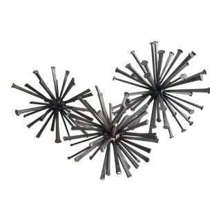 Brutalist Welded Starburst Table Sculptures- Set of 3