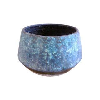Mid-Century Blue Fat Lava Glaze Drip Planter