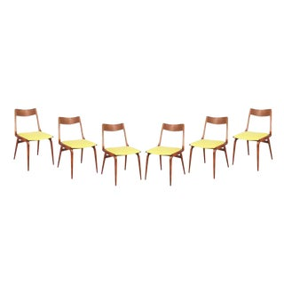 Teak Yellow Dining Chairs by Erik Christiansen - Set of 6