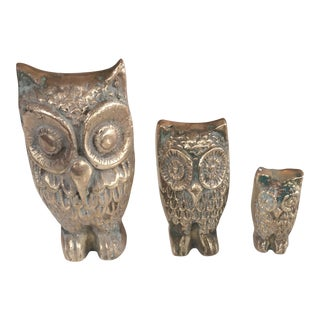 Miniature Brass Owl Collection - Set of 3