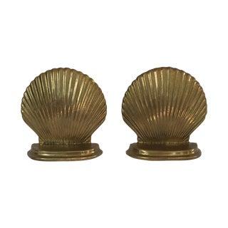 Brass Scallop Shell Bookends - A Pair