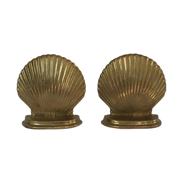 Image of Brass Scallop Shell Bookends - A Pair